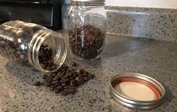 coffee on counter open container