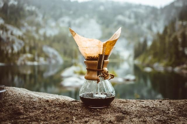 coffee carafe outdoors with filter