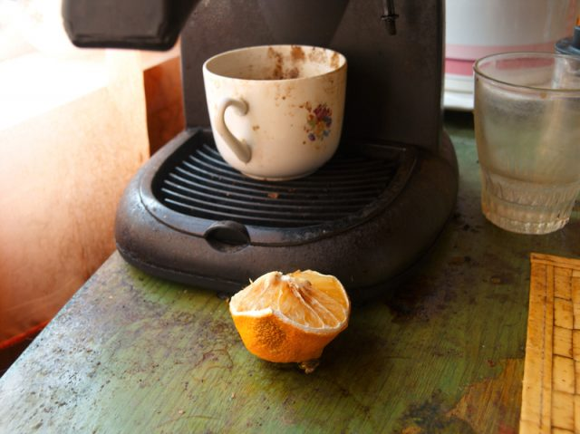 dirty coffee maker